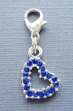 Blue Crystal HEART Dangle Clip On Charm Fit for Link Chain Floating locket C178