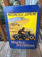 """Vintage Harley Davidson Motorcycle Heavy Porcelain Sign 16""""x11"""""""