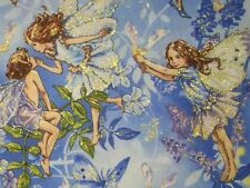 Michael Miller Fabric Dawn Flower Fairies DM6433-SKYX-D w/Gold Glitter BTY