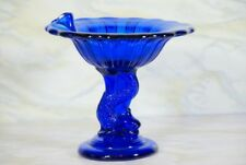 ANTIQUE NORTHWOOD  COBALT BLUE GLASS DOLPHIN FISH COMPOTE