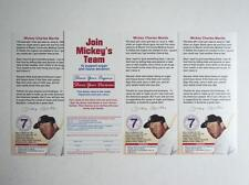 Lot of 4 RARE Join Mickey's Mantle Team Organ Donation Cards Yankees FLASH SALE