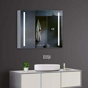 Design Alu Spiegelschrank LED Beleuchtung Uhr und Vergrößerungsspiegel MSC80X70