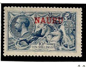 NAURU(Z-850) 1916 SG23 10/- DE-LA-RUE PALE BLUE  O/PRINT VERY FINE MM / MH