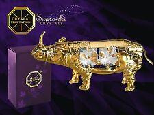 G 4102 Gold Nashorn Rhinoceros Swarovski Steine Kristall 24 Karat Crystal 9 cm