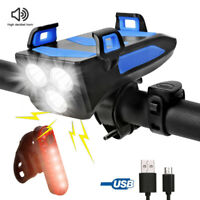 USB Rechargeable LED Bike Headlight Bicycle Head Light Front Lamp Cycling + Horn