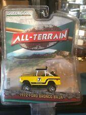 1/64 GREENLIGHT ALL TERRAIN 1972 FORD BRONCO BAJA #7 YELLOW