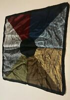 "Scarf Pocket Square Black border  Multi Colored paisley 18"" square"