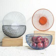 Storage Basket Nordic Wrought Iron Wire Hollow Round Desktop Snack Fruit Bowl