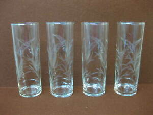 4 Vintage Hi Ball Glasses / Tumblers ~ Etched Decoration ~ Wheat / Barley