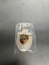 OEM Genuine Porsche White Crest Leather Key Ring WAP0500960E