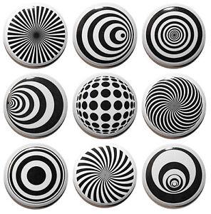 9 Mini Optical Illusion Circle Fridge Magnets - MADE IN UK-Gifts & Kitchen- 25mm