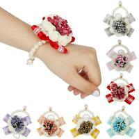 Wedding Prom Bridal Bridesmaid Pearl Wrist Corsage Bracelet Hand Flower Decor