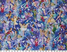 'ENCHANTED FAIRY' ALLOVER ON BLUE FABRIC - MICHAEL MILLER