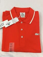 Lacoste Men's SPORT Polo Shirt NWT Orange Braise Blanc Size EU 6 US L