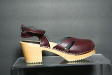 Sven Back Strap Open Toe Clogs Sandals Multi Maroon Women 38 Hip Casual Heels