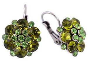 Green Rhinestone Silver Earrings Diamante Flower Hoop Stud Drop Pierced UK E138