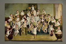 R&L Postcard: Comic Novelty, Multiple Children Babies Musician Brass Band Violin