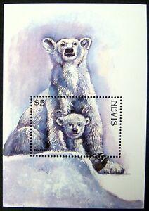 1998 MNH NEVIS POLAR BEAR STAMPS SOUVENIR SHEET WILD ANIMALS ENDANGERED SPECIES