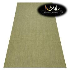 MODERN NATURAL SISAL RUG 'FLAT' PRACTICAL Plain green Flat Weave Easy Clean