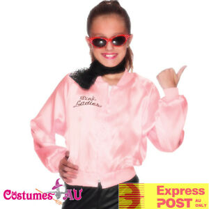 Girls Kids 50's Child Grease Pink Lady Ladies Jacket Costume 50s Embroidery Girl