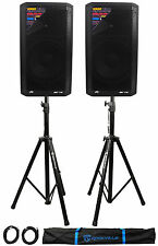 """(2) Peavey DM 112 12"""" 1000W Powered PA Speakers+Stands+Cables+Bag"""