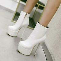 Women Ankle Boots Platform Round Toe High Heels Boots Black Red Shoes for Woman