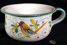 Signed Italy Art Pottery Chamber Pot Bowl Incised Bird Flowers