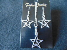 Kette und Ohrringe set doppelter fünfzackiger Stern Sterne Silber Damen Neu