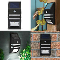 Solar Power Motion Sensor Outdoor Garage Garden LED Security Wall Light - BLACK