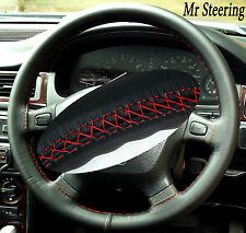 FOR LANDROVER DISCOVERY BLACK ITALIAN LEATHER STEERING WHEEL COVER RED STITCHING