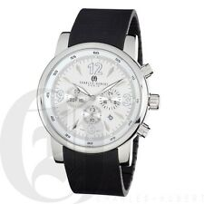 Charles-Hubert Mens Chronograph Watch Stainless Steel Case Rubber Band 3882-W