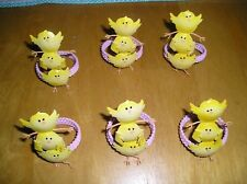 New listing Set of 6 Spring Easter Napkin Rings Yellow Metal Chicks with Pink Rope Bands