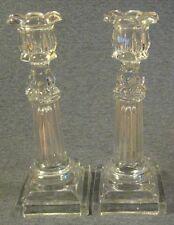 Pair c.1840 Boston & Sandwich Glass Co. Flint Petal Socket Columnar Candlesticks