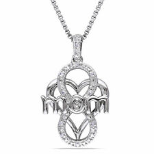 """Sterling Silver Diamond Accent Heart """"Mom"""" Necklace"""