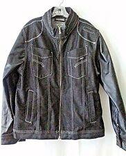 Mo7 Men's Black Denim Jacket/ Faux Leather Sleeves Zip up Hip Hop size XL