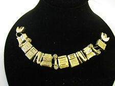 Vintage Brass Slide 7.5 in Bracelet Business Office Charms Rare XLNT