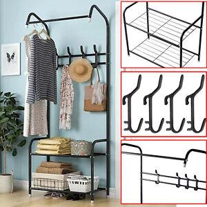 Large Hat and Coat Stand Clothes Rail Rack Bag Hanger Hook Storage Shelf Shoe