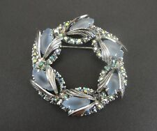 Ab Rhinestones Silver Plate Brooch Pin Vintage Wreath Style Blue Stones and
