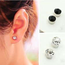 Unisex Fake Magnet Rhinestone Nose Ear Lip Ring Stud Plug Clip On Non Piercing