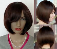 High Quality Wig Cute Haircut Dark Brown Kanekalon Straight Natural Looks Wig