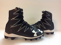 kids Under Armour Highlight Clutch Fit Cleats Black/White Size 2Youth Boys