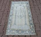 Anatolian Vintage Prayer Rug Turkish Handmade Oriental Distressed Carpet 2.5x4ft