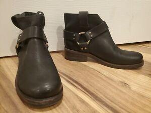 New All Saints Obert Biker Leather Black Booties Boots US 7.5 EU 38.5 UK 5.5