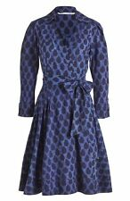 Size 6 Diane von Furstenberg 'Jadrian' Piece Batik Blue Cotton Wrap Dress NWT