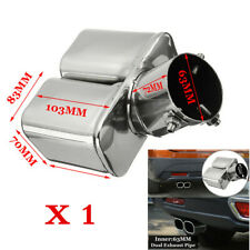 """Chrome 63mm 2.5"""" Stainless Steel Inlet Car Tail Rear Pipe Tip Muffler Cover 1Pcs"""