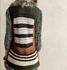 Anthropologie S Elevenses Salt Creek Moto Vest Crochet Faux Fur Green Wool Blend
