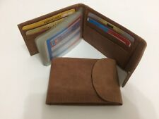 Leather Mini Wallet w/Credit Card & Business Card Holder - Dark Tan AEC-23