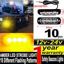 10x 12/24V 4LED Yellow Strobe Flashing Light Emergency Hazard Truck Warning Lamp