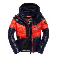 Superdry NEW Men's Snow Terrain Down Puffer Jacket - Navy / Flame Orange BNWT