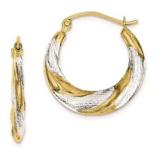 10K White And Yellow Gold 3 MM Twist Hollow Hoop Earrings (19 x 20 MM) MSRP $117